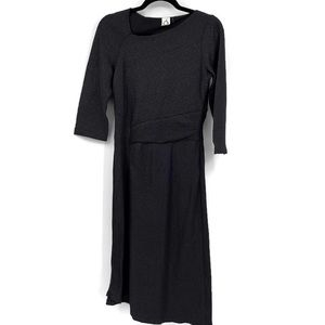 Anthropologie Tegan Knit Dress Small Black Midi